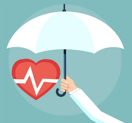 Health insurance concept. Doctor holding an umbrella, protecting the heart.