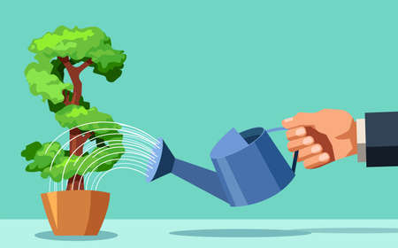 Business man watering money tree. Investing in business project concept. Vector flat design illustration.