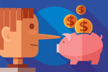 Finance and fraud concept. Side profile of a liar man and a piggy bank