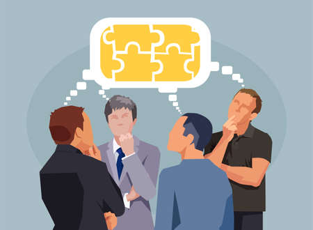 Business people having discussion exchanging thoughts completing puzzle Illustration