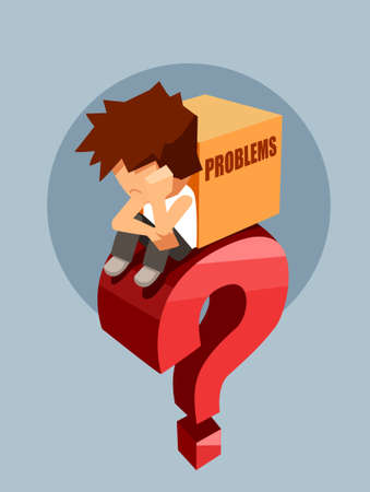 Sad young man sitting on a big red question with box of problems