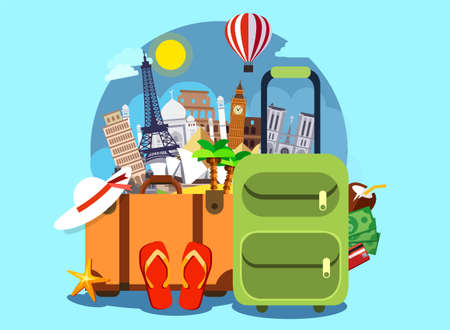 Tourism with famous world landmarks. Vector Illustration. Travel bags and different touristic elements 일러스트