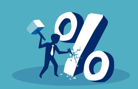 Koncepcja finansowa. Biznes człowiek łamanie znak procentu