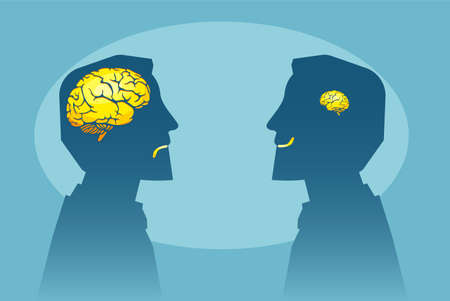 Vector of two man with different brain sizes looking at each other Illustration