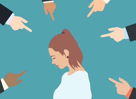 Concepto de acusación culpable. Vector de una mujer triste mirando hacia abajo con muchos dedos apuntando a ella aislado sobre fondo verde.