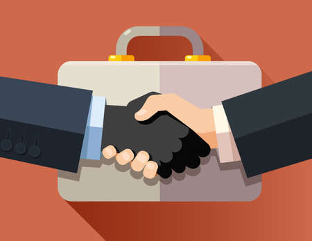 Handshake of corrupt business men on a briefcase background. Flat design modern vector illustration concept.