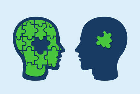 Puzzle head brain. Two face profiles against each other with one missing jigsaw piece cut out Illustration