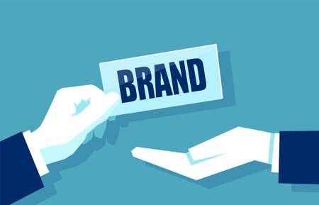 Concept of brand building vector illustration on blue background Illustration