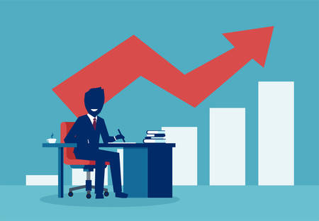 Successful businessman working at desk with red arrow chart growing up.