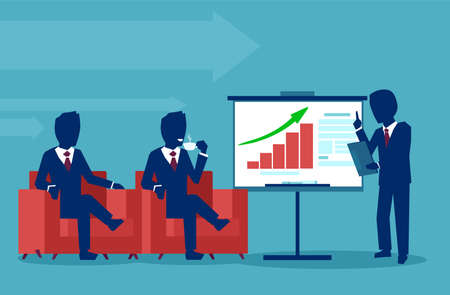 Businessman presenting marketing data on a presentation screen board explaining charts to company executives. Business seminar. Flat style vector