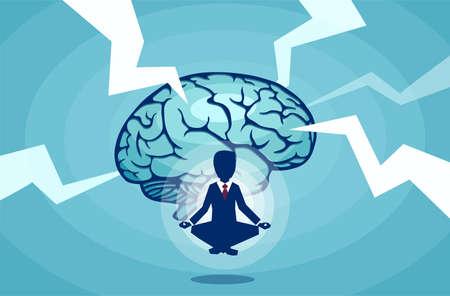 Vector of a meditating businessman brainstorming an idea resisting outside stress factors