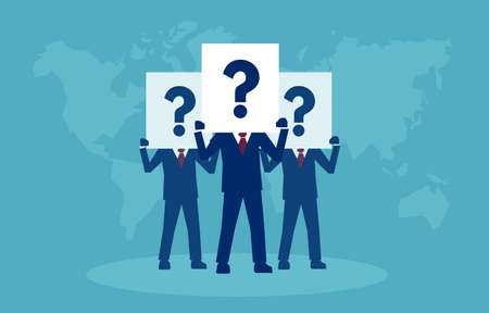 Vector of a group of businessmen having plenty of question and doubts.