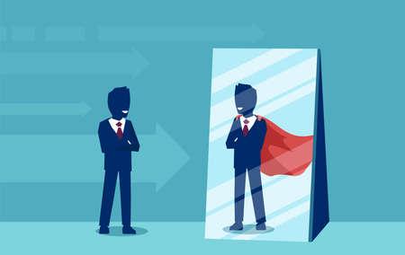 Vector van een gemotiveerde zakenman die zichzelf onder ogen ziet als een superheld in de spiegel. Zelfvertrouwen concept