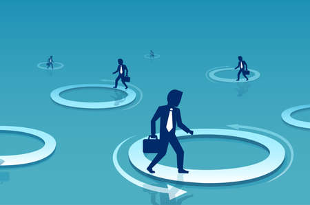 Vector of a businessman walking inside circle. Business challenge and difficulty concept Illustration