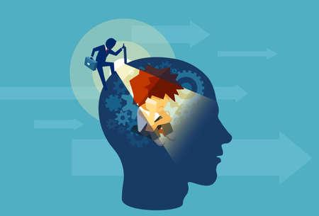 Vector van een volwassen bedrijfsmens die een menselijk hoofd opent met het onderbewustzijn van een kind dat binnen zit