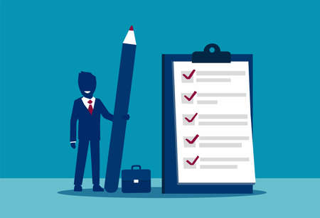Vector of a businessman with a checklist on the clipboard Illustration
