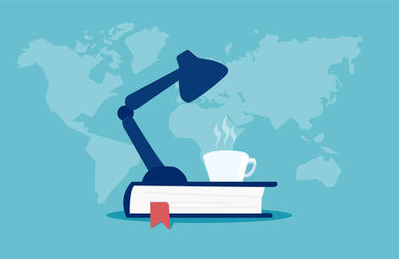 Colorful vector of lamp silhouette on book with cup of coffee against blue background with map of world