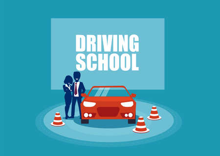 Driving school. Student and instructor and a training car. Vector illustration in cartoon style Standard-Bild - 112217116