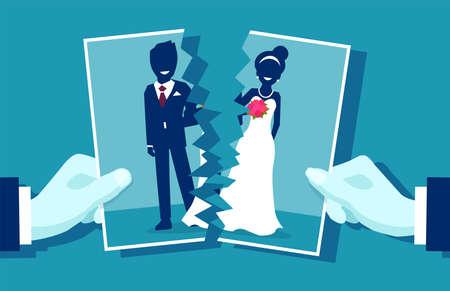 Crisis en la relación y el concepto de divorcio. Foto de grupo de la joven pareja casada cortada a la mitad como símbolo de conflicto, amor infeliz. Ilustración de vector.