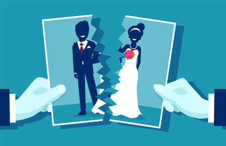 Crisis in relationship and divorce concept. Group photo of young married couple cut in half as symbol of conflict, unhappy love. Vector illustration. Ilustracja