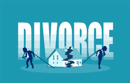 Divorce and marriage problems vector concept. Man and a woman are dragging apart their half of the house.