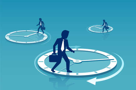 Concept vector of businessmen walking on circles of time clocks busy with routine and tensed with deadlines