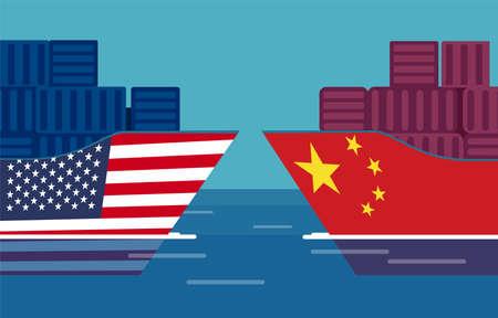 Handelskriegskonzept zwischen China und den Vereinigten Staaten. Vektor von zwei Frachtschiffen. Besteuerung von Import und Export
