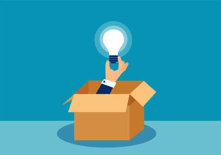 Ilustración vectorial de una mano que sostiene la bombilla de la idea, piensa fuera del concepto de caja