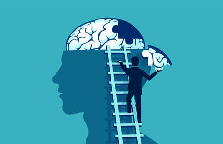 Brain puzzle vector concept. Business man climbing up the stairs reaching human head to add piece of brain puzzle.