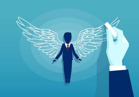 Vecteur d'un homme d'affaires avec des ailes sur fond bleu Vecteurs