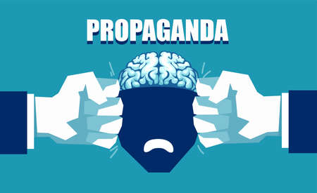 Mind control and propaganda concept. Vector of an open human head squeezed between two fists