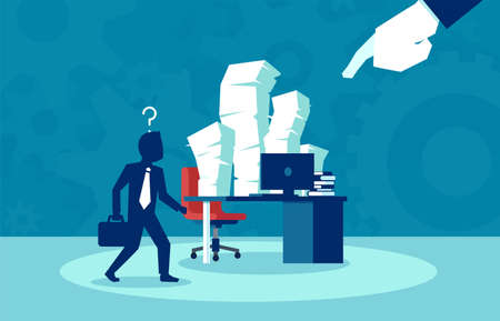 Busy job of an corporate employee, bureaucracy, paperwork concept. Vector in flat style