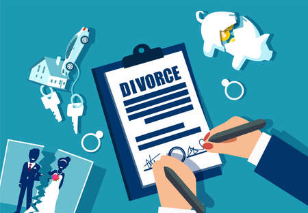 Divorce and property divison concept. Vector with piggy bank, house, car and marriage photograph divided in half