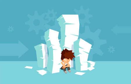 Vector de una pila de libros y un estudiante triste y abrumado sentado en el suelo. Demasiado para estudiar el concepto de educación. Ilustración de vector