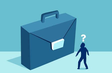Vektor eines Geschäftsmannes, der sich die Aktentasche ansieht, die sich über den zukünftigen Karriereweg des Unternehmens im Unternehmen unsicher ist