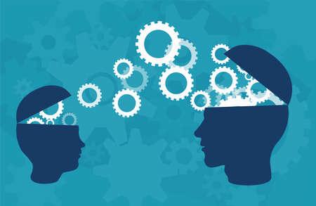 Concepto de transferencia de conocimientos. Vector de silueta de dos cabezas de una persona adulta y un niño compartiendo conocimientos, ideas, sobre fondo azul.