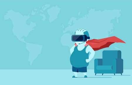 Vector of a fat young man with VR glasses in a room imagining being a super hero. Illustration
