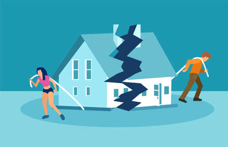 Divorce and marriage problems vector concept. Man and a woman are dragging apart their half of the house. Standard-Bild - 110166329
