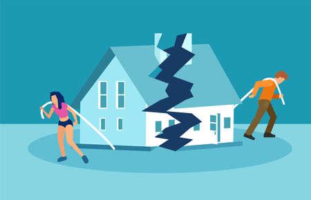Echtscheiding en huwelijksproblemen vector concept. Man en vrouw slepen hun helft van het huis uit elkaar.