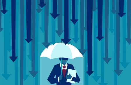 Risk averse. Vector of a businessman with umbrella resisting protecting himself from falling arrows as a symbol of unfavorable business environment Illustration