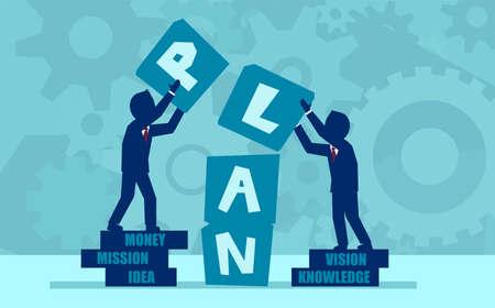 Concept de vecteur de travail d'équipe et de partenariat travaillant à un plan d'affaires réussi.