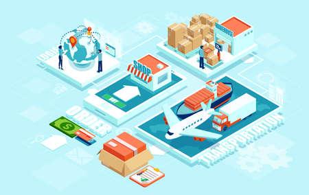 Distribuzione di rete logistica di consegna automatizzata di ordine online intelligente contemporaneo innovativo con infografica industria 4.0 di macchinari per le persone. Spedizione globale di merci tramite trasporto marittimo aereo truck Vettoriali
