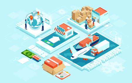 Innovative contemporary smart online order automated delivery logistics network distribution with people machinery industry 4.0 infographic. Global shipping of cargo by air truck maritime transportation