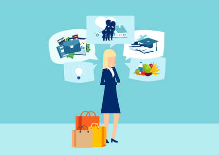 Vector woman with shopping bags dreaming of future life and spending money on blue background