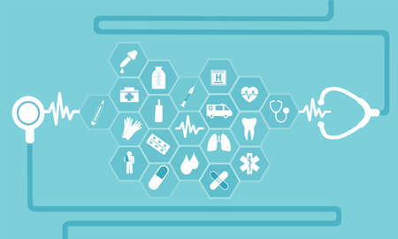 Vector flat icons in medicine healthcare symbols for poster, web banner and card