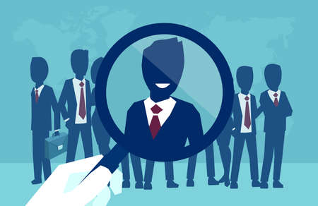 Vector concept of a corporate recruitment process, hand zooming with magnifying glass picking successfull candidate