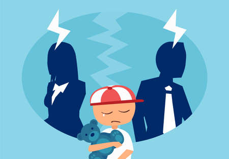 Divorce and family conflict concept. Vector of a couple man and woman having an argument with a stressed crying child in the middle.
