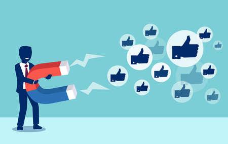 Social-Media-Marketing-Konzept. Vektor eines jungen Geschäftsmannes, der mit einem riesigen Magneten Likes anzieht
