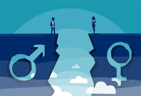 Gender gap and equality or inequality concept. Vector of a male and female sign shaped into stone cliff and businessman with businesswoman looking at each other from different sides