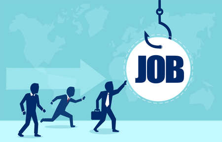 Job am Haken. Vektor von Geschäftsleuten, die laufen, um einen Job am Angelhaken zu bekommen. Täuschung im Unternehmenskonzept.